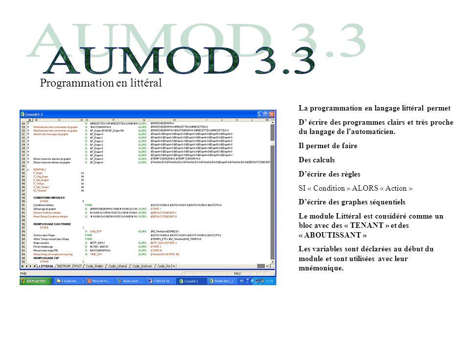 La programmation en langage littéral permet D écrire des programmes clairs et très proche du langage de lautomaticien.