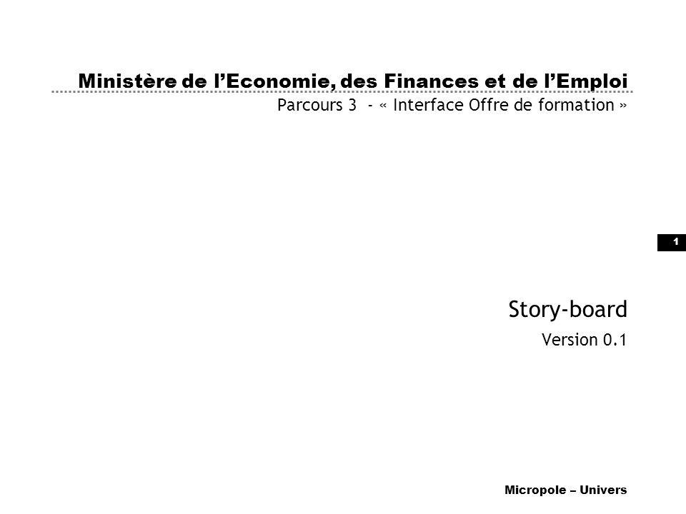 1 Ministère de lEconomie, des Finances et de lEmploi Parcours 3 - « Interface Offre de formation » Story-board Version 0.1 Micropole – Univers
