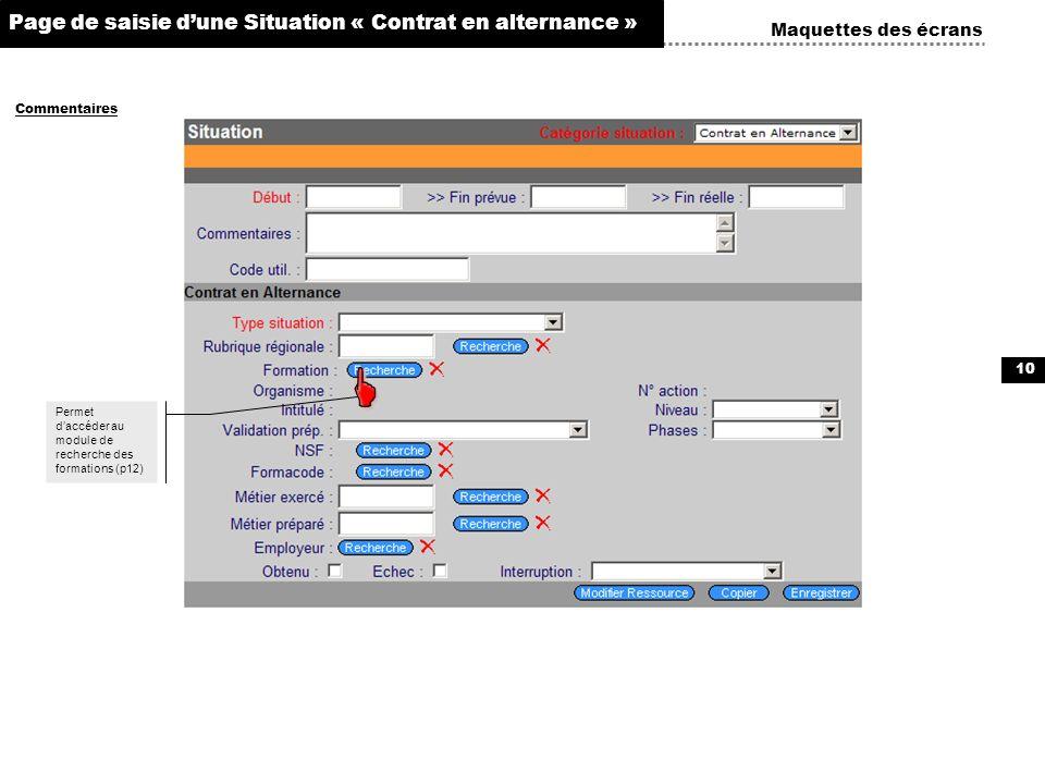 10 Maquettes des écrans Commentaires Page de saisie dune Situation « Contrat en alternance » ÉchangesDocuments dématérialisés Taux AT Permet daccéder
