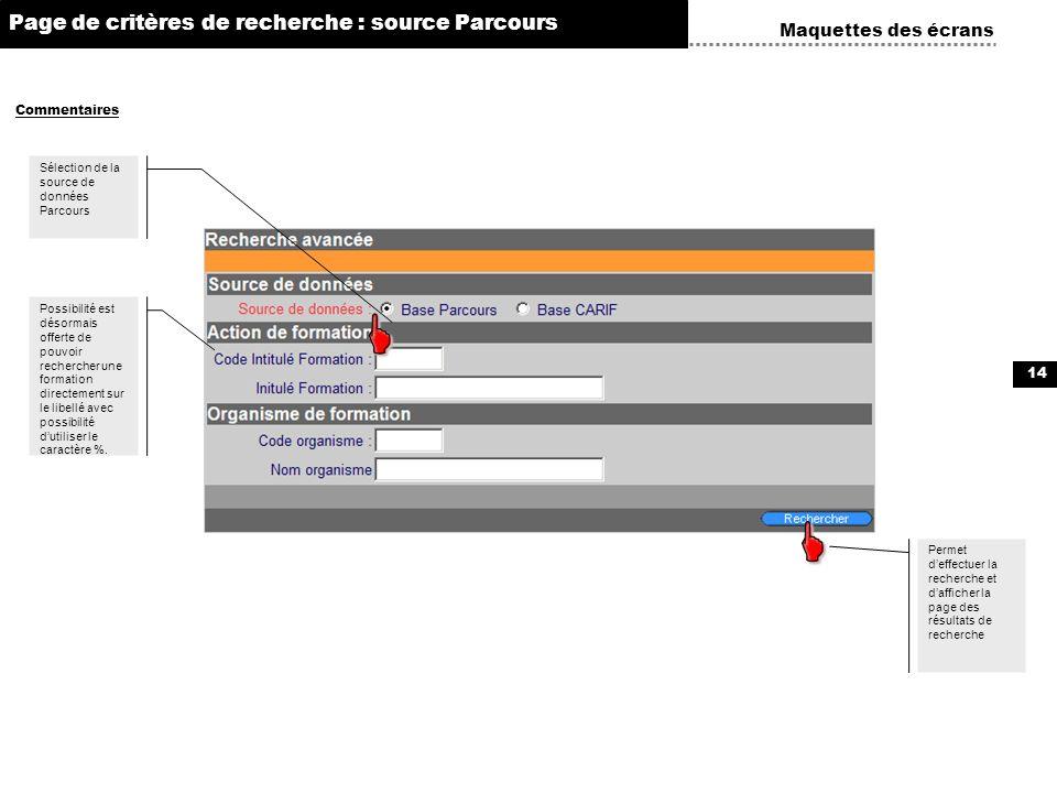 14 Permet deffectuer la recherche et dafficher la page des résultats de recherche Maquettes des écrans Commentaires Page de critères de recherche : so
