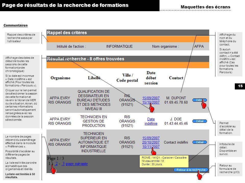 15 Maquettes des écrans Commentaires Page de résultats de la recherche de formations Rappel des critères de recherche saisis par lutilisateur Retour a
