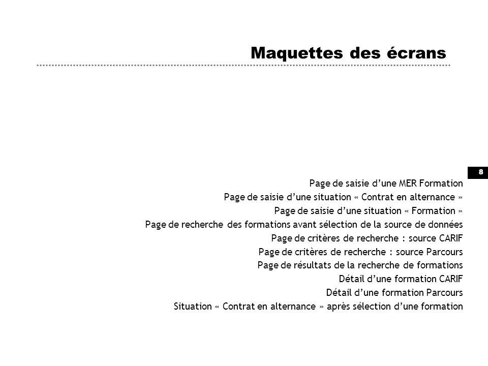 8 Maquettes des écrans Page de saisie dune MER Formation Page de saisie dune situation « Contrat en alternance » Page de saisie dune situation « Forma