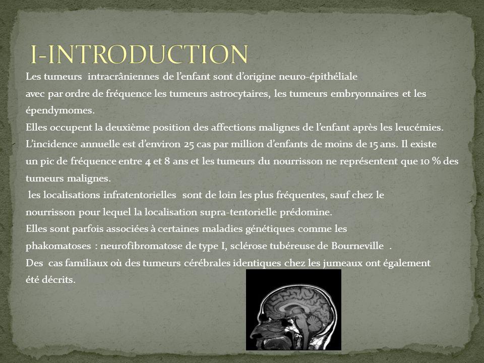 Les tumeurs intracrâniennes de lenfant sont dorigine neuro-épithéliale avec par ordre de fréquence les tumeurs astrocytaires, les tumeurs embryonnaire