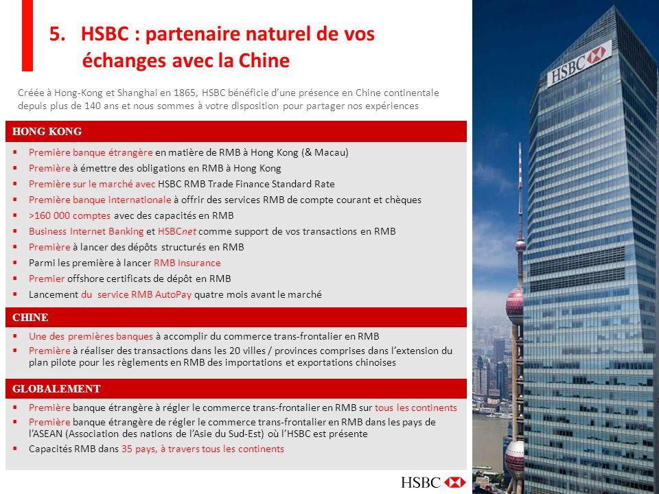 13 5. HSBC : partenaire naturel de vos échanges avec la Chine Créée à Hong-Kong et Shanghai en 1865, HSBC bénéficie dune présence en Chine continental