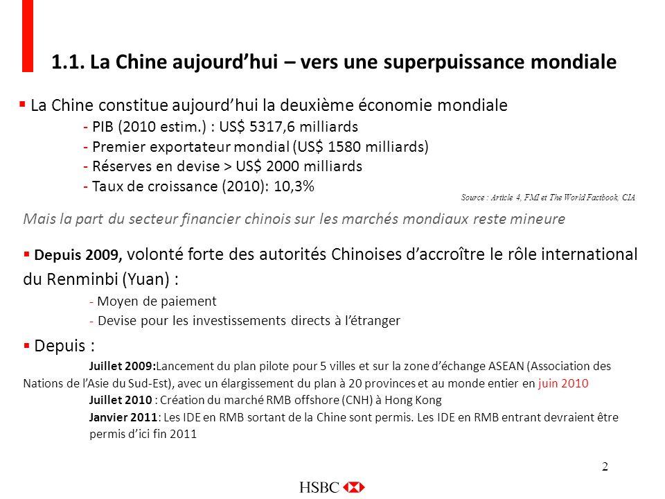 2 1.1. La Chine aujourdhui – vers une superpuissance mondiale La Chine constitue aujourdhui la deuxième économie mondiale - PIB (2010 estim.) : US$ 53