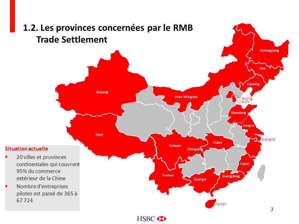3 Zhejiang Shanghai 1.2. Les provinces concernées par le RMB Trade Settlement Situation actuelle 20 villes et provinces continentales qui couvrent 95%