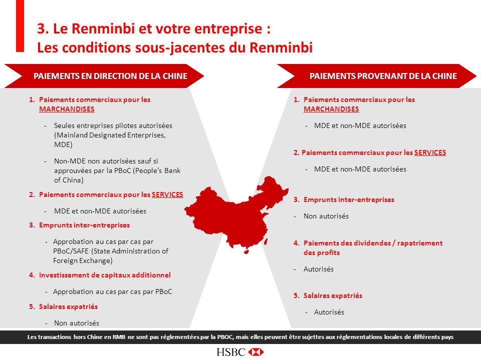 7 PAIEMENTS EN DIRECTION DE LA CHINE 3. Le Renminbi et votre entreprise : Les conditions sous-jacentes du Renminbi 1.Paiements commerciaux pour les MA