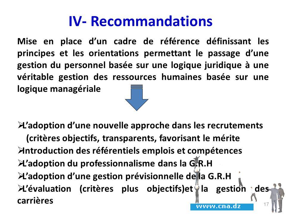 IV- Recommandations Mise en place dun cadre de référence définissant les principes et les orientations permettant le passage dune gestion du personnel