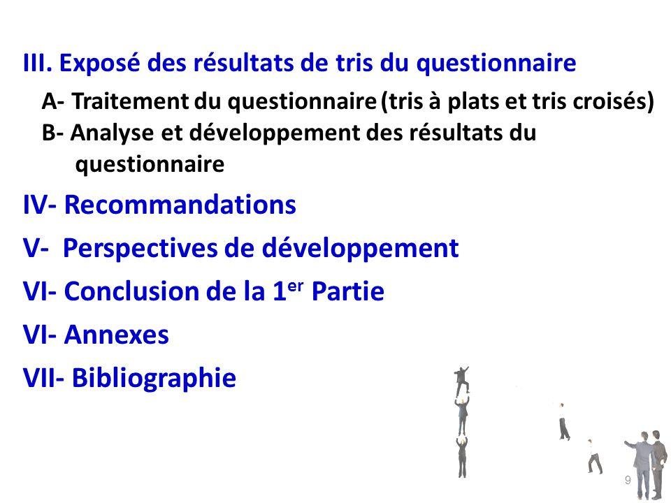 III. Exposé des résultats de tris du questionnaire A- Traitement du questionnaire (tris à plats et tris croisés) B- Analyse et développement des résul