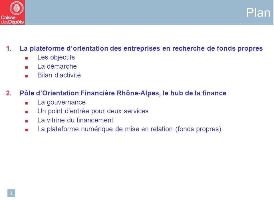 2 1.La plateforme dorientation des entreprises en recherche de fonds propres Les objectifs La démarche Bilan dactivité 2.Pôle dOrientation Financière Rhône-Alpes, le hub de la finance La gouvernance Un point dentrée pour deux services La vitrine du financement La plateforme numérique de mise en relation (fonds propres) Plan