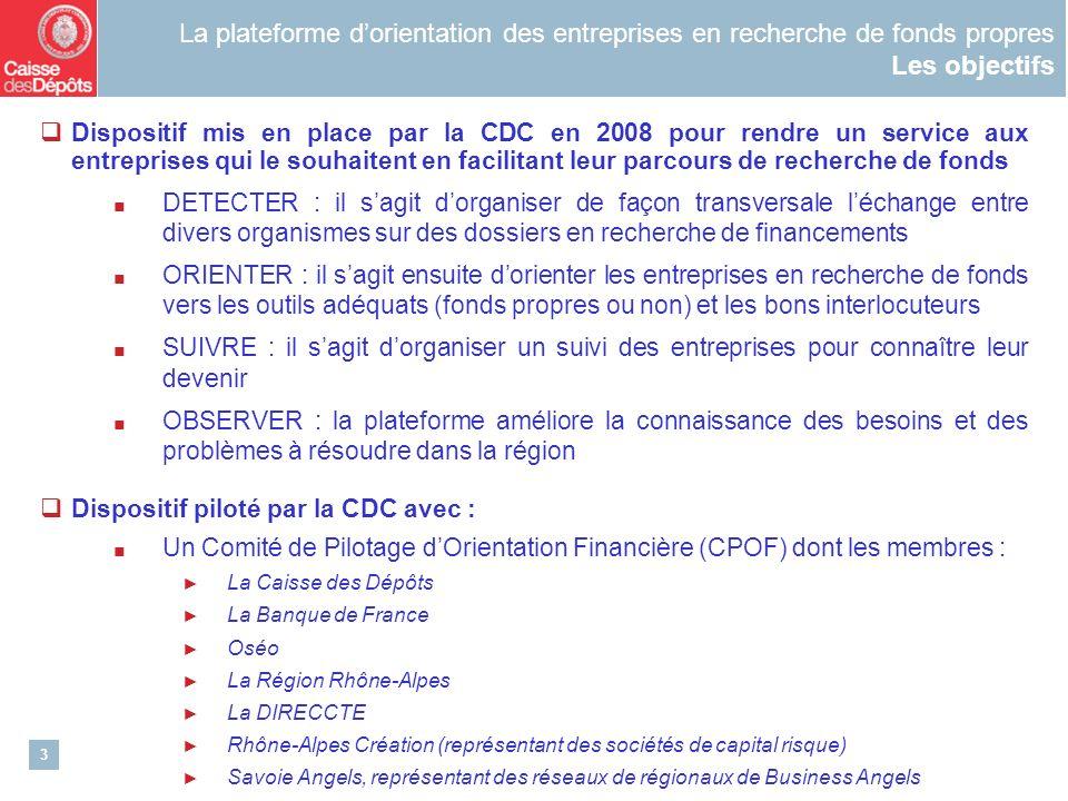 3 La plateforme dorientation des entreprises en recherche de fonds propres Les objectifs Dispositif mis en place par la CDC en 2008 pour rendre un ser
