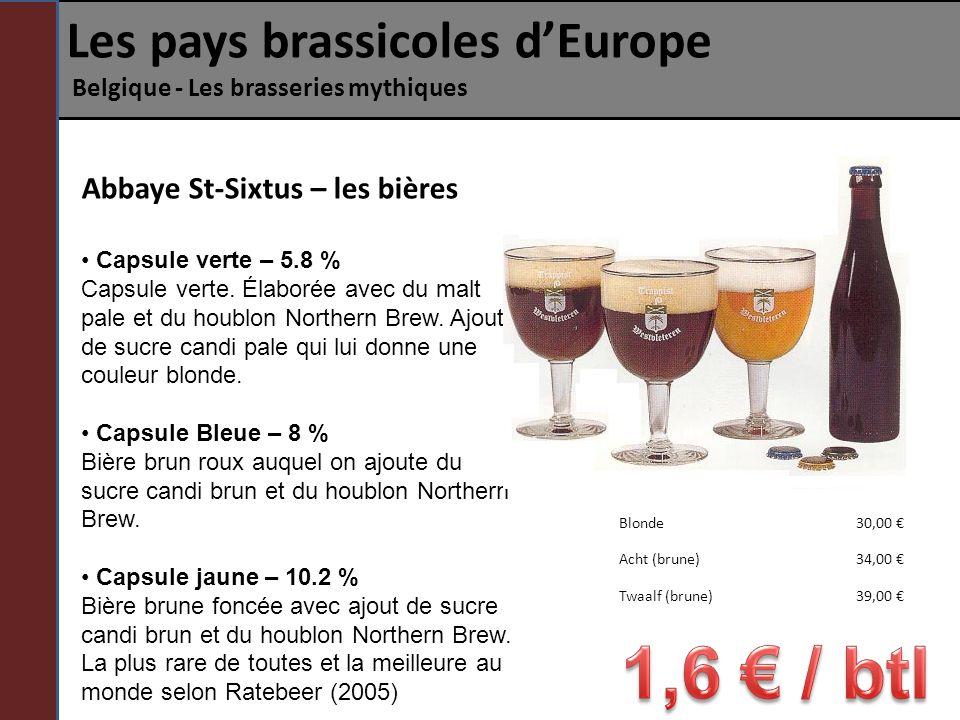 Les pays brassicoles dEurope Belgique - Les brasseries mythiques Abbaye St-Sixtus – les bières Capsule verte – 5.8 % Capsule verte. Élaborée avec du m