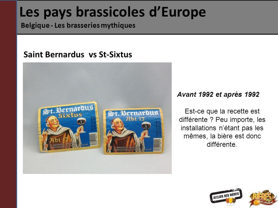 Les pays brassicoles dEurope Belgique - Les brasseries mythiques Saint Bernardus vs St-Sixtus Avant 1992 et après 1992 Est-ce que la recette est diffé