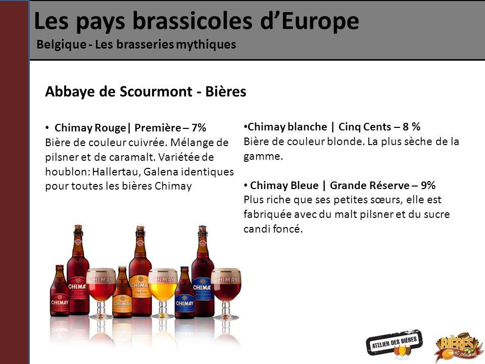 Les pays brassicoles dEurope Belgique - Les brasseries mythiques Abbaye de Scourmont - Bières Chimay Rouge| Première – 7% Bière de couleur cuivrée. Mé