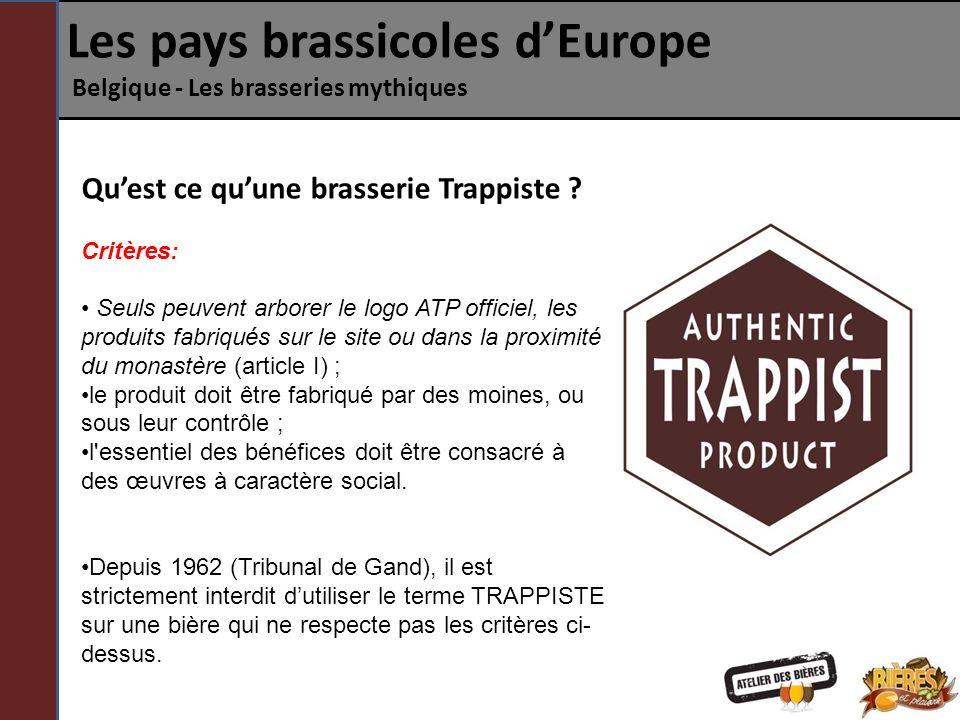 Quest ce quune brasserie Trappiste ? Critères: Seuls peuvent arborer le logo ATP officiel, les produits fabriqués sur le site ou dans la proximité du