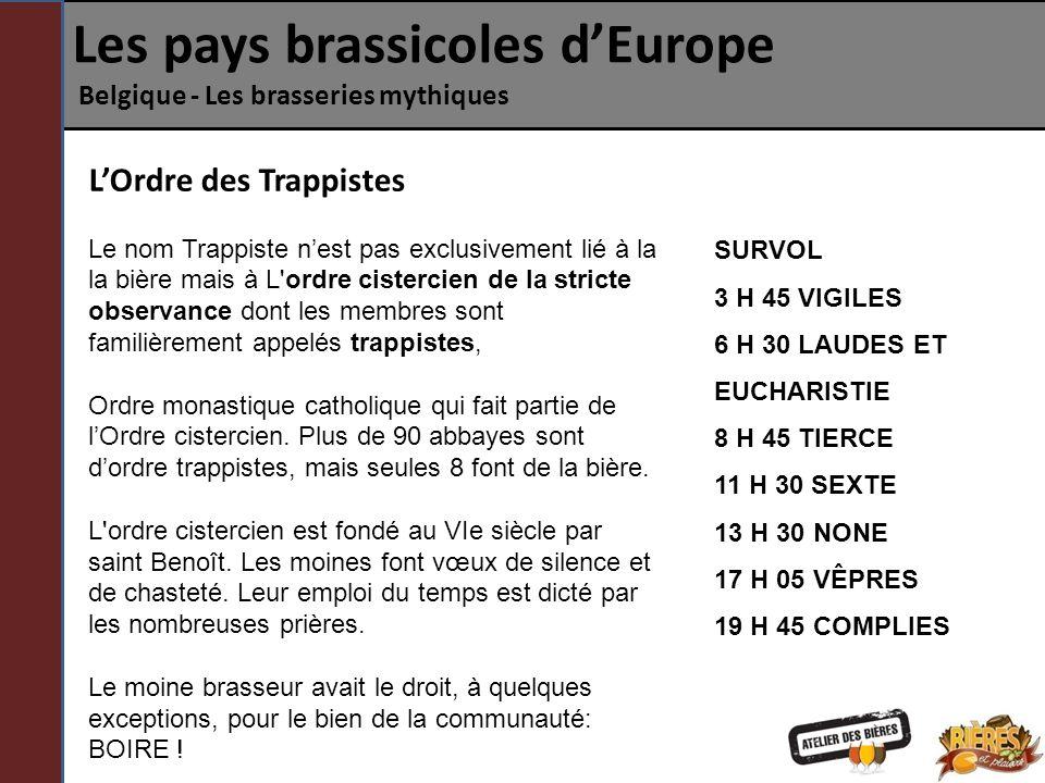 Les pays brassicoles dEurope Belgique - Les brasseries mythiques LOrdre des Trappistes Le nom Trappiste nest pas exclusivement lié à la la bière mais