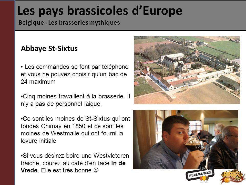 Les pays brassicoles dEurope Belgique - Les brasseries mythiques Abbaye St-Sixtus Les commandes se font par téléphone et vous ne pouvez choisir quun b