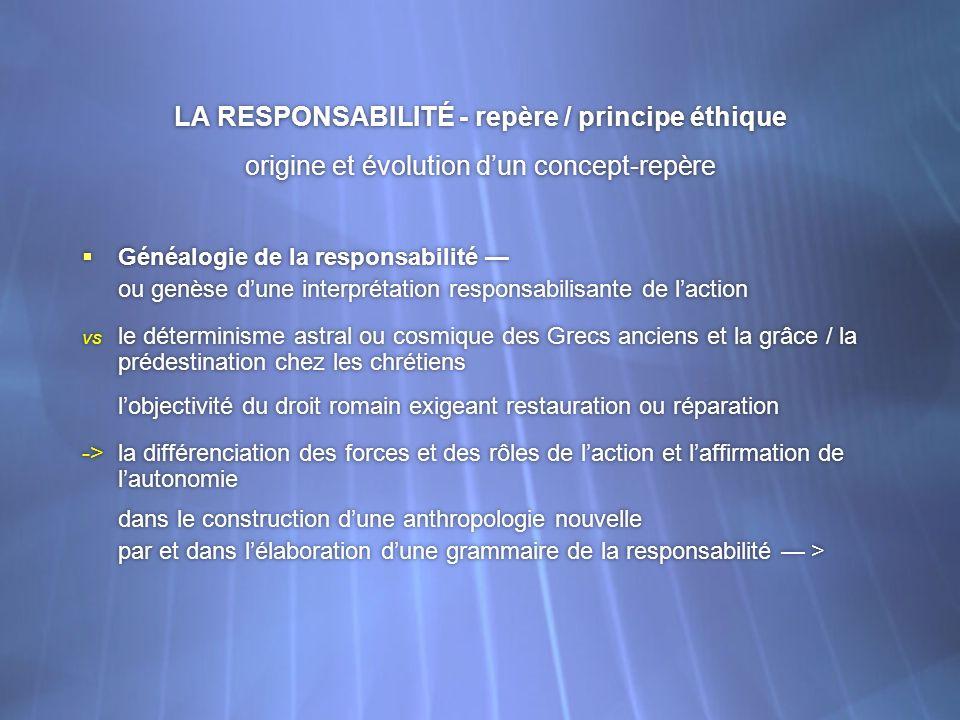 LA RESPONSABILITÉ - repère / principe éthique origine et évolution dun concept-repère Généalogie de la responsabilité ou genèse dune interprétation re