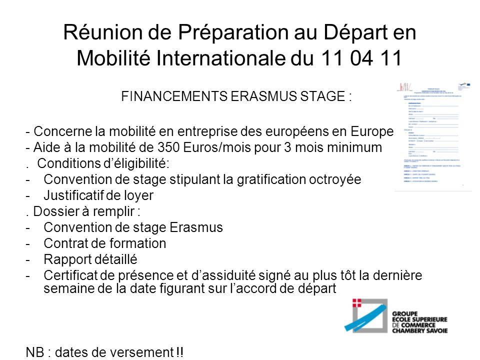 Réunion de Préparation au Départ en Mobilité Internationale du 11 04 11 FINANCEMENTS ERASMUS STAGE : - Concerne la mobilité en entreprise des européen
