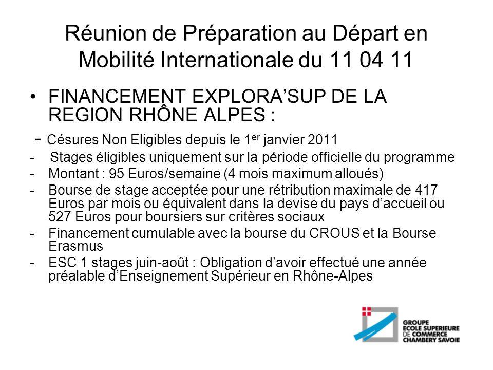 Réunion de Préparation au Départ en Mobilité Internationale du 11 04 11 FINANCEMENT EXPLORASUP DE LA REGION RHÔNE ALPES : - Césures Non Eligibles depu