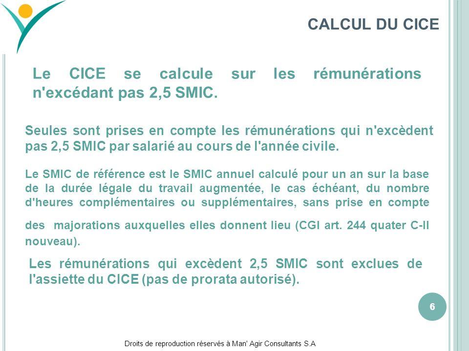 Droits de reproduction réservés à Man' Agir Consultants S.A 666 CALCUL DU CICE Le CICE se calcule sur les rémunérations n'excédant pas 2,5 SMIC. Seule
