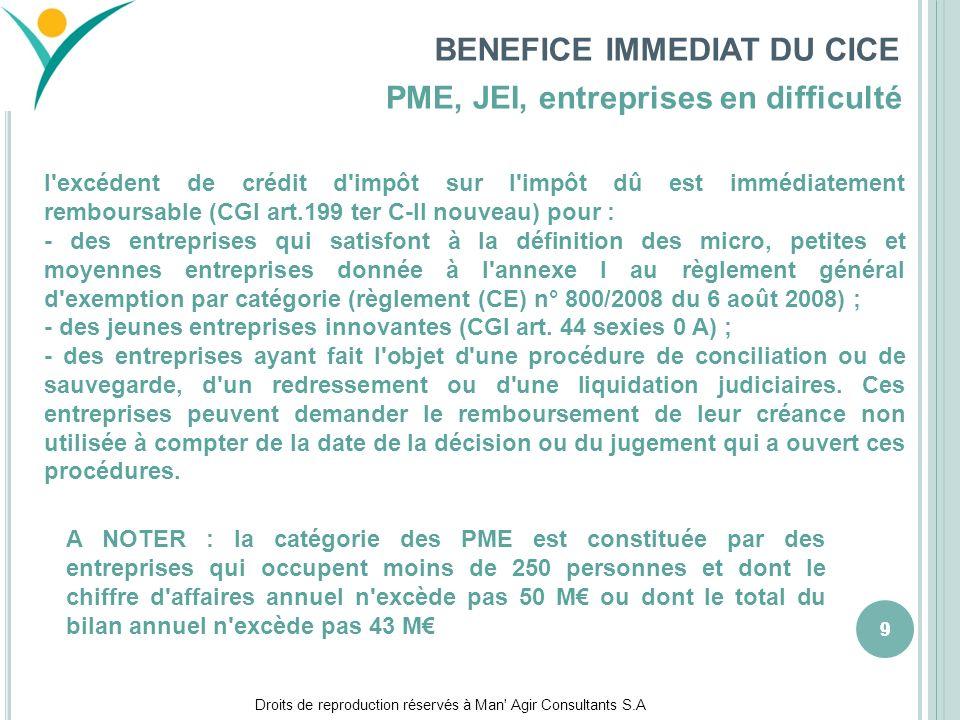 Droits de reproduction réservés à Man' Agir Consultants S.A 999 BENEFICE IMMEDIAT DU CICE l'excédent de crédit d'impôt sur l'impôt dû est immédiatemen