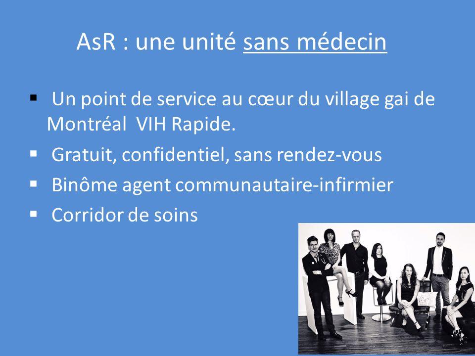 AsR : une unité sans médecin Un point de service au cœur du village gai de Montréal VIH Rapide. Gratuit, confidentiel, sans rendez-vous Binôme agent c