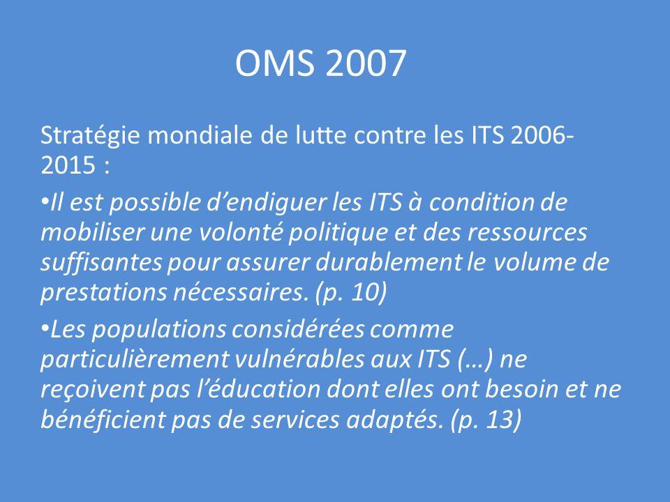 OMS 2007 Stratégie mondiale de lutte contre les ITS 2006- 2015 : Il est possible dendiguer les ITS à condition de mobiliser une volonté politique et d