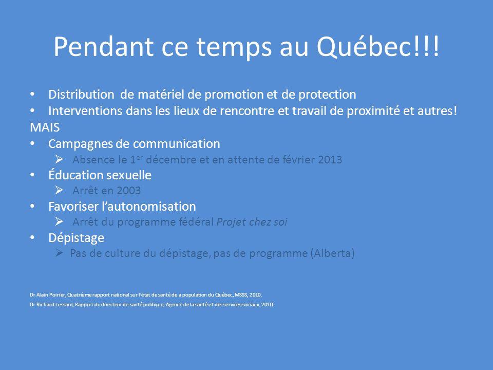Pendant ce temps au Québec!!! Distribution de matériel de promotion et de protection Interventions dans les lieux de rencontre et travail de proximité