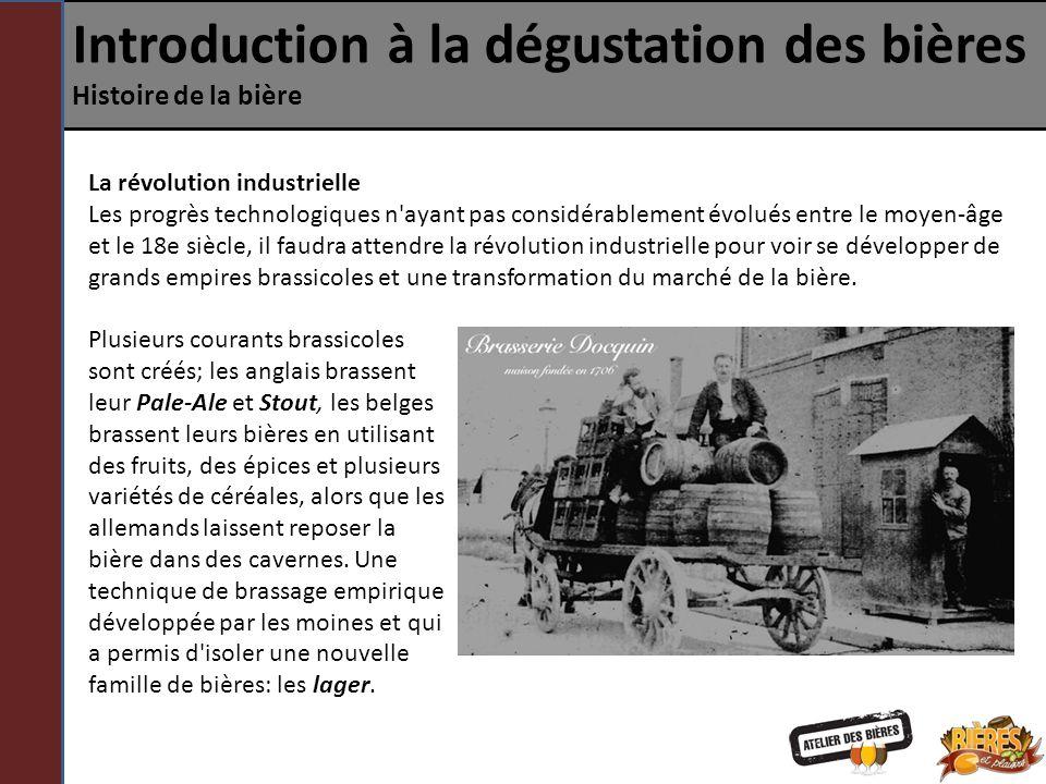 Introduction à la dégustation des bières Histoire de la bière La révolution industrielle Les progrès technologiques n'ayant pas considérablement évolu