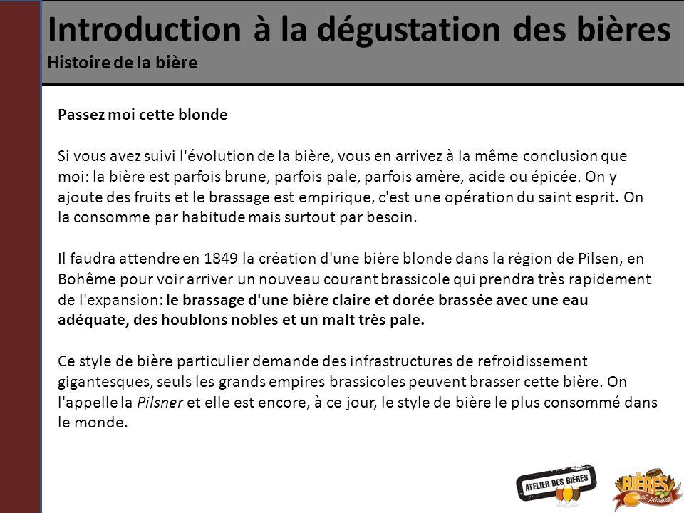 Introduction à la dégustation des bières Histoire de la bière Passez moi cette blonde Si vous avez suivi l'évolution de la bière, vous en arrivez à la