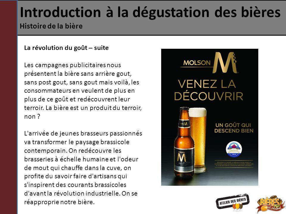 Introduction à la dégustation des bières Histoire de la bière La révolution du goût – suite Les campagnes publicitaires nous présentent la bière sans
