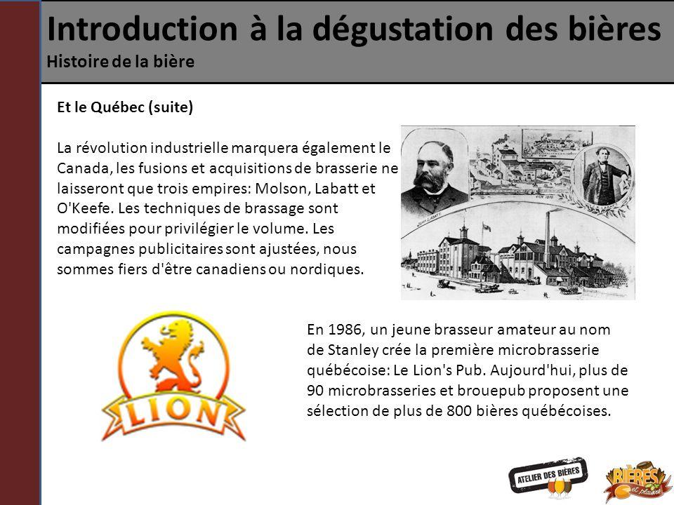 Introduction à la dégustation des bières Histoire de la bière Et le Québec (suite) La révolution industrielle marquera également le Canada, les fusion