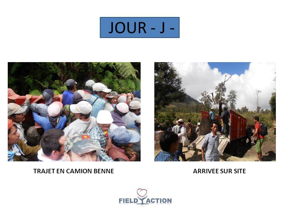 JOUR - J - TRAJET EN CAMION BENNEARRIVEE SUR SITE