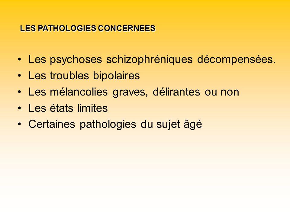 Les psychoses schizophréniques décompensées. Les troubles bipolaires Les mélancolies graves, délirantes ou non Les états limites Certaines pathologies