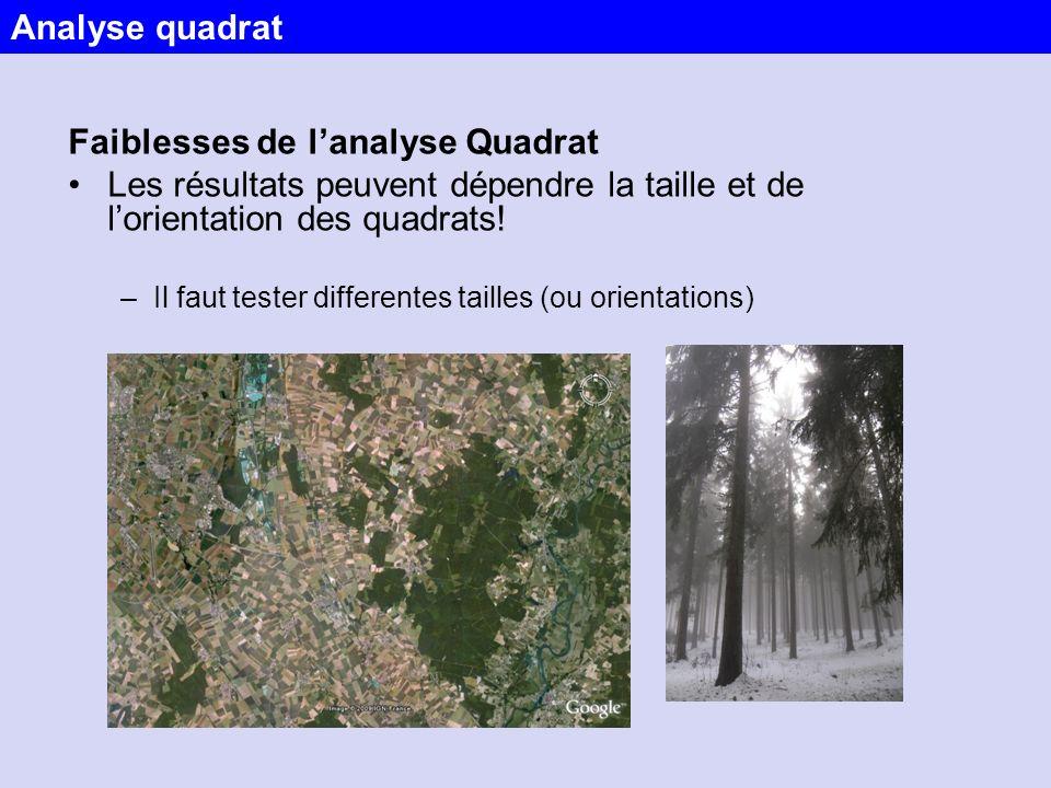Faiblesses de lanalyse Quadrat Les résultats peuvent dépendre la taille et de lorientation des quadrats! –Il faut tester differentes tailles (ou orien