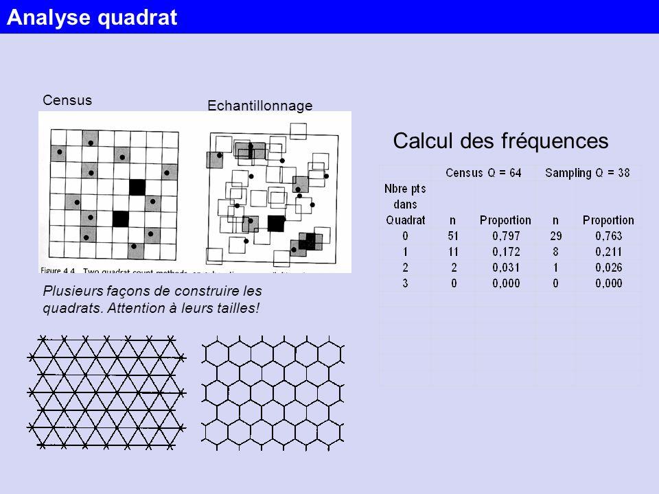 Census Plusieurs façons de construire les quadrats. Attention à leurs tailles! Echantillonnage Calcul des fréquences Analyse quadrat