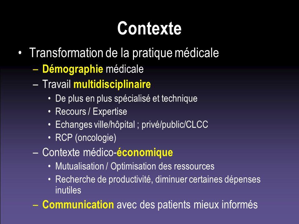 Contexte Transformation de la pratique médicale – Démographie médicale –Travail multidisciplinaire De plus en plus spécialisé et technique Recours / E