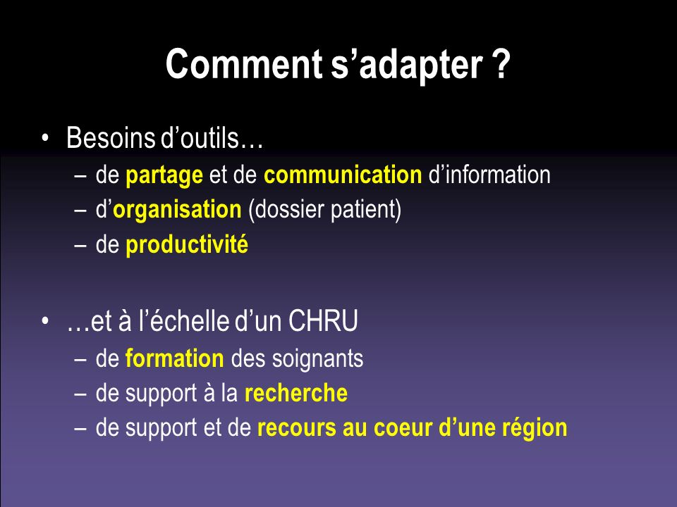 Comment sadapter ? Besoins doutils… –de partage et de communication dinformation –d organisation (dossier patient) –de productivité …et à léchelle dun