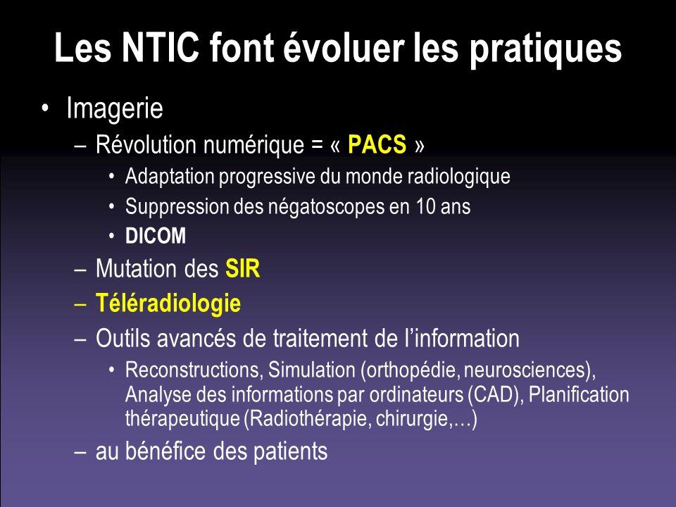 Les NTIC font évoluer les pratiques Imagerie –Révolution numérique = « PACS » Adaptation progressive du monde radiologique Suppression des négatoscope