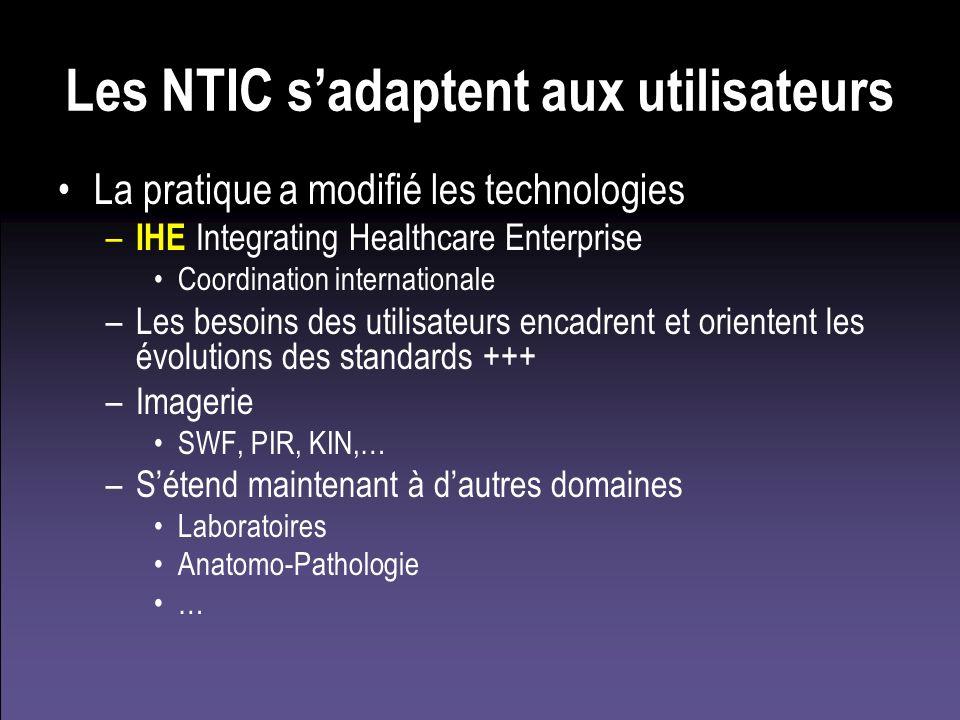 Les NTIC sadaptent aux utilisateurs La pratique a modifié les technologies – IHE Integrating Healthcare Enterprise Coordination internationale –Les be