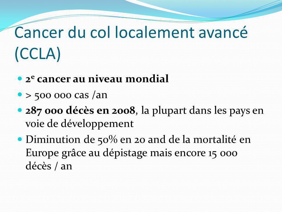 Cancer du col localement avancé (CCLA) 2 e cancer au niveau mondial > 500 000 cas /an 287 000 décès en 2008, la plupart dans les pays en voie de dével