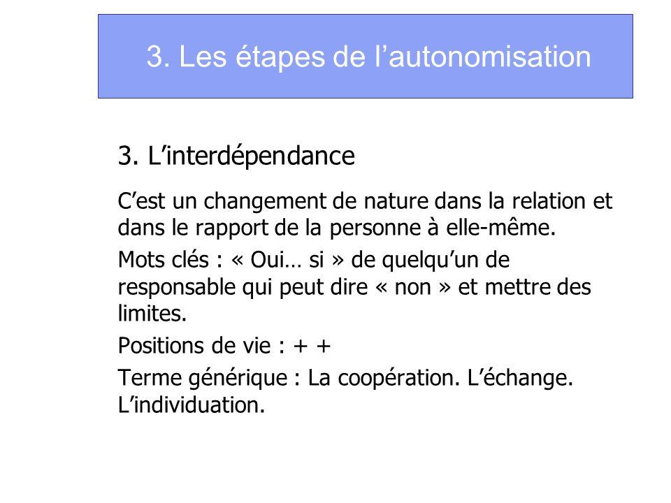 3. Les étapes de lautonomisation 3. Linterdépendance Cest un changement de nature dans la relation et dans le rapport de la personne à elle-même. Mots