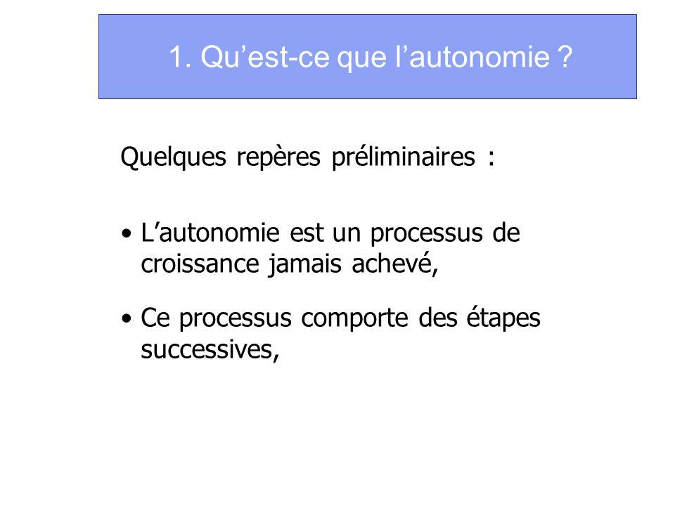 1. Quest-ce que lautonomie ? Quelques repères préliminaires : Lautonomie est un processus de croissance jamais achevé, Ce processus comporte des étape