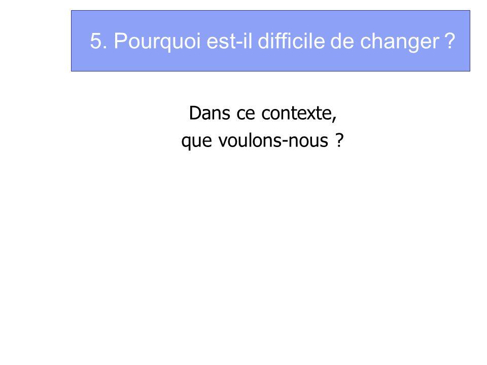 5. Pourquoi est-il difficile de changer ? Dans ce contexte, que voulons-nous ?