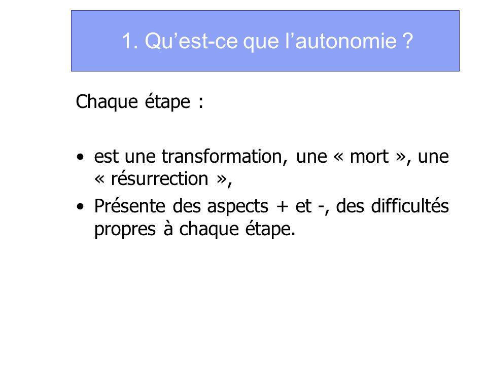 1. Quest-ce que lautonomie ? Chaque étape : est une transformation, une « mort », une « résurrection », Présente des aspects + et -, des difficultés p