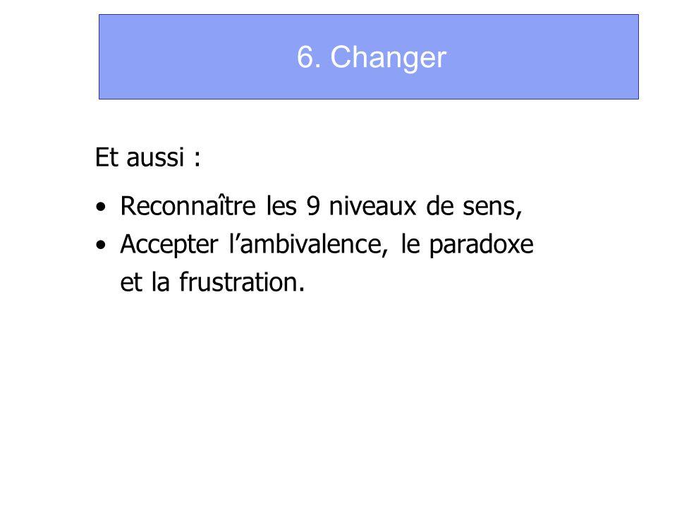 6. Changer Et aussi : Reconnaître les 9 niveaux de sens, Accepter lambivalence, le paradoxe et la frustration.
