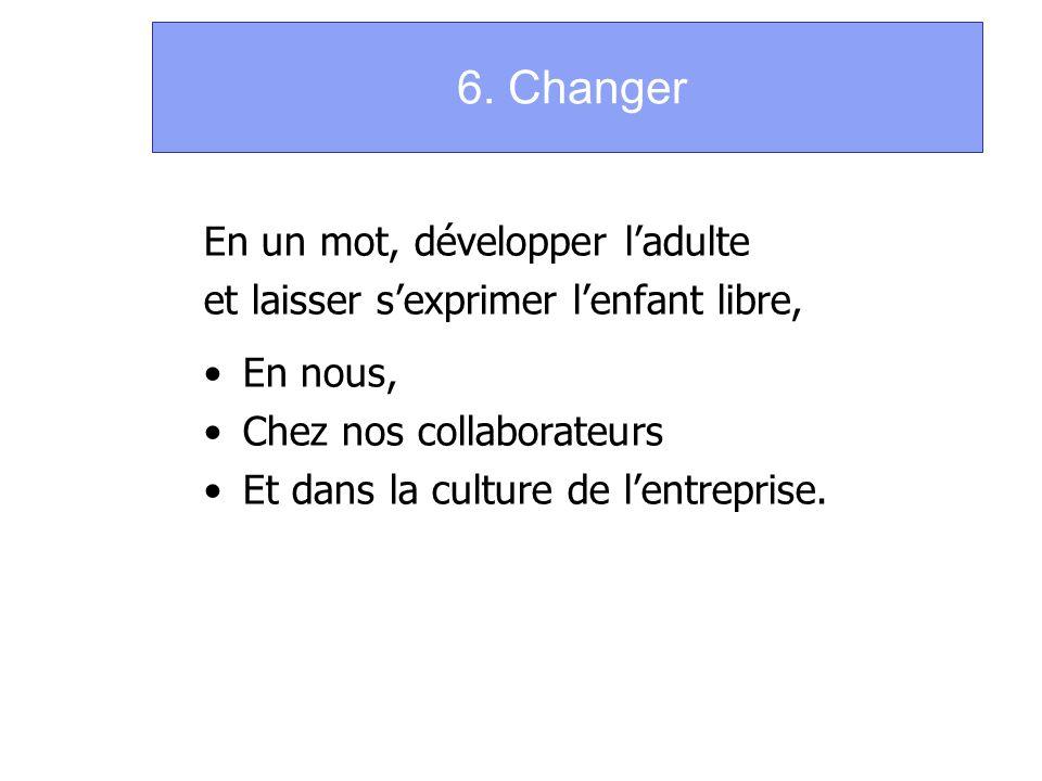 6. Changer En un mot, développer ladulte et laisser sexprimer lenfant libre, En nous, Chez nos collaborateurs Et dans la culture de lentreprise.