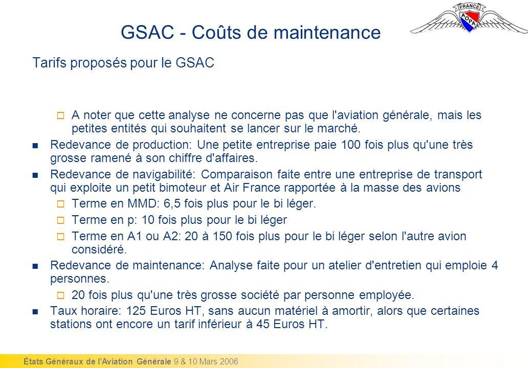 États Généraux de lAviation Générale 9 & 10 Mars 2006 Tarifs proposés pour le GSAC A noter que cette analyse ne concerne pas que l aviation générale, mais les petites entités qui souhaitent se lancer sur le marché.