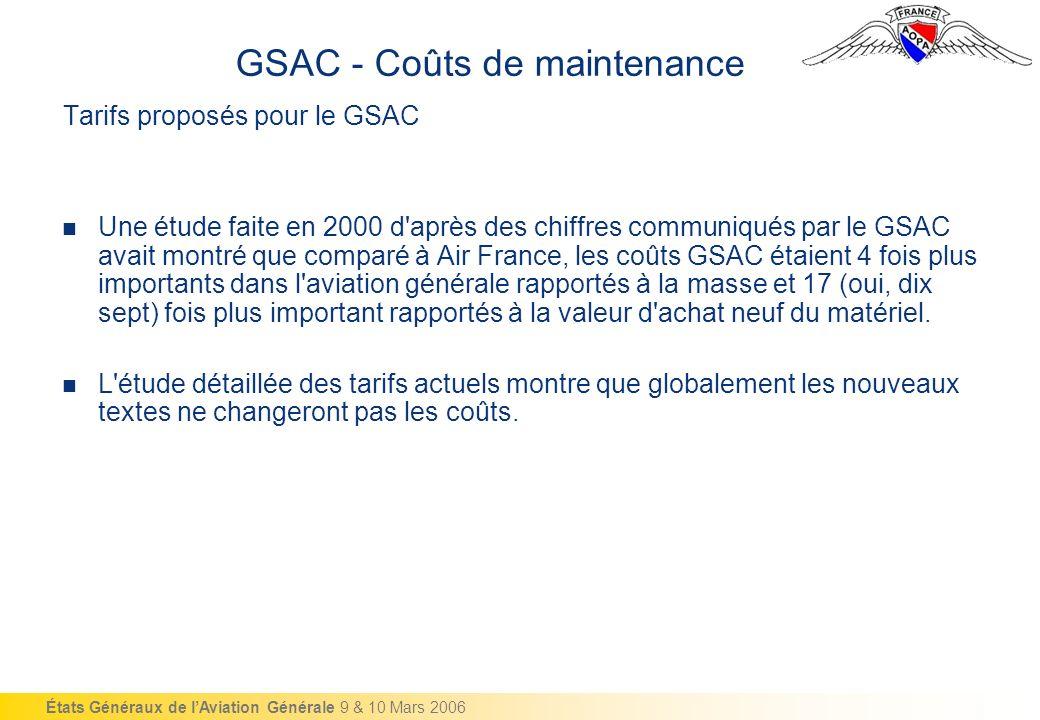 États Généraux de lAviation Générale 9 & 10 Mars 2006 Tarifs proposés pour le GSAC Une étude faite en 2000 d après des chiffres communiqués par le GSAC avait montré que comparé à Air France, les coûts GSAC étaient 4 fois plus importants dans l aviation générale rapportés à la masse et 17 (oui, dix sept) fois plus important rapportés à la valeur d achat neuf du matériel.